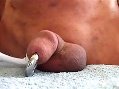 Depraved Guy Masturbating Pierced Cock With A Toothbrush