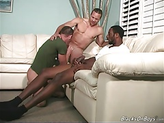 Muscular irish guy gets fucked in the ass by black men