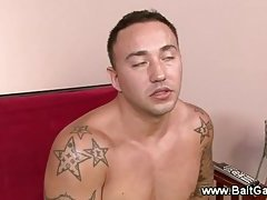 Straight muscled guy gets hard with jock