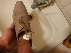 Piss in wifes lace-up high heel shoe