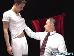 Uniformed mormon gets cum