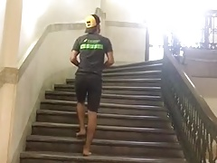 Striptease and jerkoff on the stairs