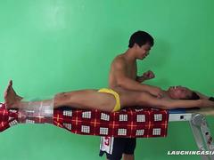 Asian Boy Rave Tied and Tickled