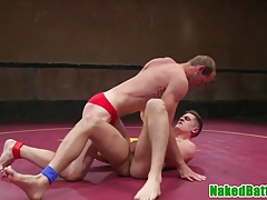 Jerking jock licks buff wrestling hunks feet