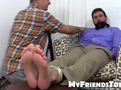 Chase is quickly gagged and tied for foot adornment