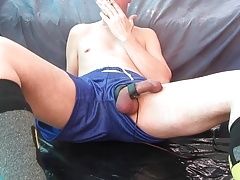 Electro Stimmed Stoned Cock Cumming