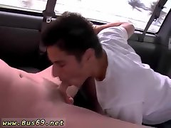 Cute guy sucking dick in a car
