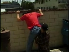 A homo shows his ass to his BF and lets him pound it from behind