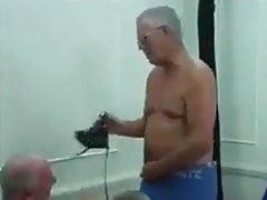 Gay old men striptease