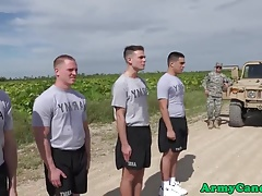 Military troop cums in outdoors bareack orgy