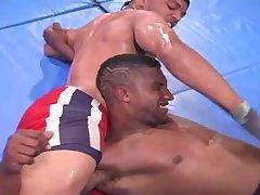 Interracial Bodybuilders Fighting