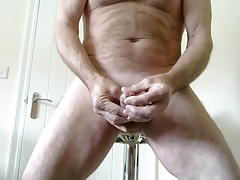 Edging my shaved rampant cock
