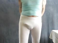 Tight spandex and visible panties.