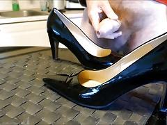 Cum in wifes black patent high heels