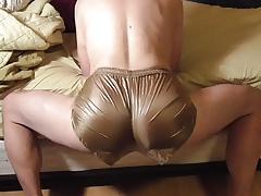 gold ripstop nylon shorts