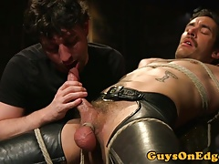 Edging sub sucked while shoe hangs from balls
