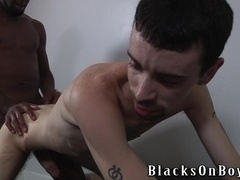 Drew Stiles gets his butt oiled and fucked deep by a black queer