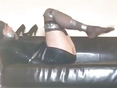 tranvestite bound gagged stockings high heels 1