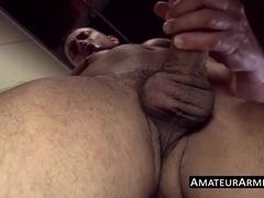 Hot amateur licks his armpits before taking a good stroke
