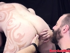 Tattooed chub spitroasted during threesome