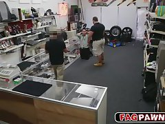 Thief try to rob the pawnshop got caught and gets a anal fuck threesome