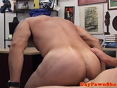 Pawnshop biker assfucked in the office