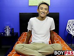 Adorable blonde asian twink Ty Neiman jerks off his cock