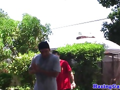 Outdoor college hazing with teens assfucking