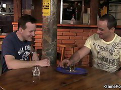 He seduces hetero bartender into gay game