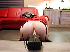 Redhead Crossdresser Fucked by New Sex Machine