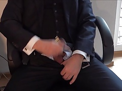 Cum over suit and tie
