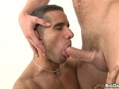 Diego gives a blowjob and a rimjob and gets his ass fucked doggy style