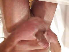 Uncut Cock wash and cum