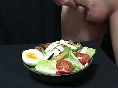 Cumshot on Salad