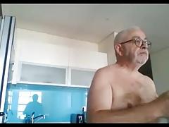 grandpa show and stroke on webcam