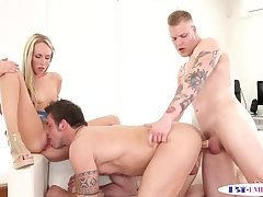 Inked hunk drilled while eating wet pussy