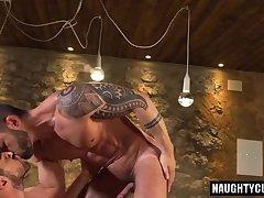 Tattoo gay flip flop with cumshot