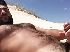 Jerking at the beach