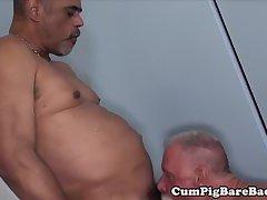 Bear barebacks tight ass before jerking cum