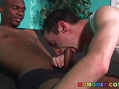 Black cock makes a shy white guy cum hard