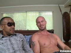Bald gay Mitch Vaughn sucks Izzy's BBC and gets his ass torn up