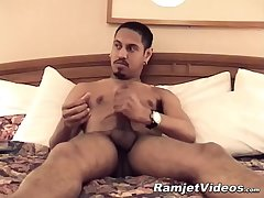 Naughty twink Lance grabs his fat cock and jerks it off