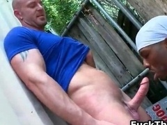White fella gets jizzster sucked by black
