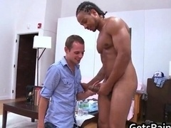 Lad gets fucked by enourmous black cock