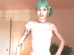 Punk Tgirl cum on cam with toys