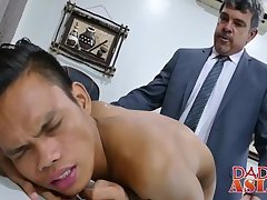 Bareback flipfucking with young  Asian twink and daddy
