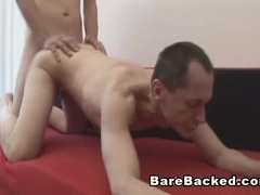 Ugly dude sucks a wang and welcomes it in his gay asshole