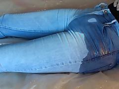 cum in ligh blue pissed tight jeans