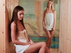 Slender beauty Cindy Shine opens her tight pussy in the sauna