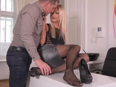 Nylon Worship - Hard Cock Blows Cum On Sexy Pantyhose